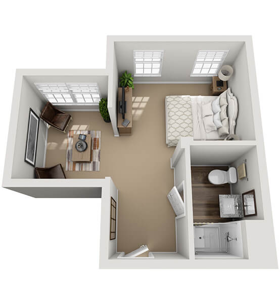 Cantata 0 Bedroom Apartment Floor Plan