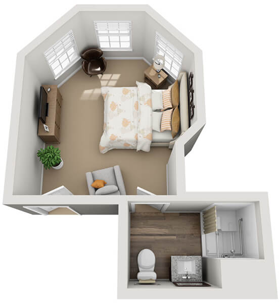 Concerto 0 Bedroom Apartment Floor Plan