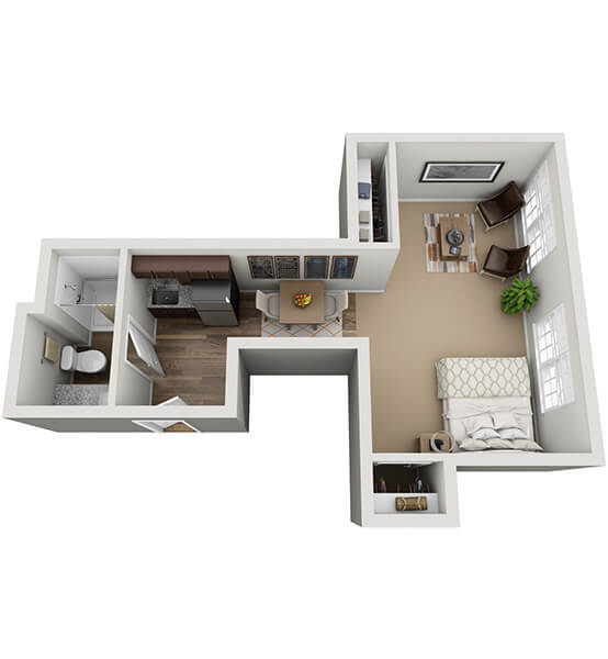 Interlude 0 Bedroom Apartment Floor Plan