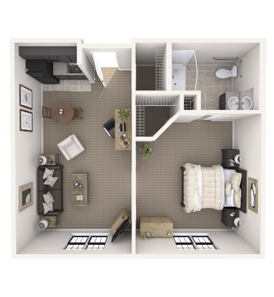 Boulder 1 Bedroom Apartment Floor Plan