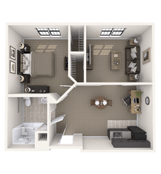 Colorado 1 Bedroom Apartment Floor Plan