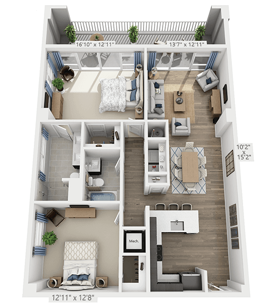 Cantata 2 Bedroom Apartment Floor Plan