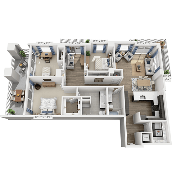 Encore 3 Bedroom Apartment Floor Plan