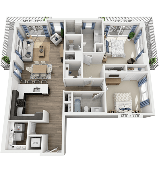 Lyric 2 Bedroom Apartment Floor Plan