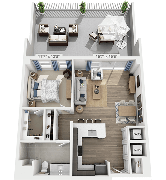 Melody 1 Bedroom Apartment Floor Plan