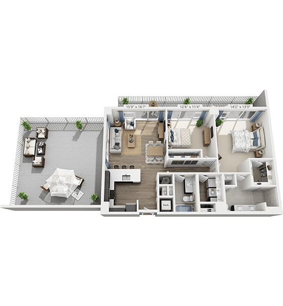 Penthouse 2 Bedroom Apartment Floor Plan