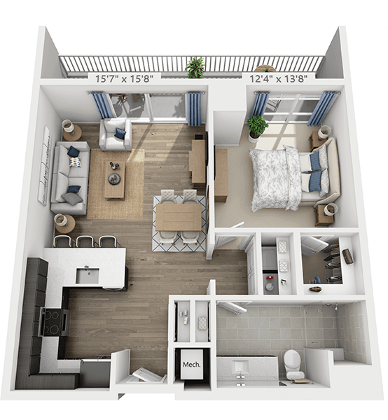 Penthouse 1 Bedroom Apartment Floor Plan