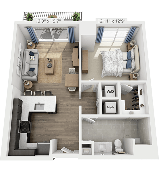Prelude 1 Bedroom Apartment Floor Plan