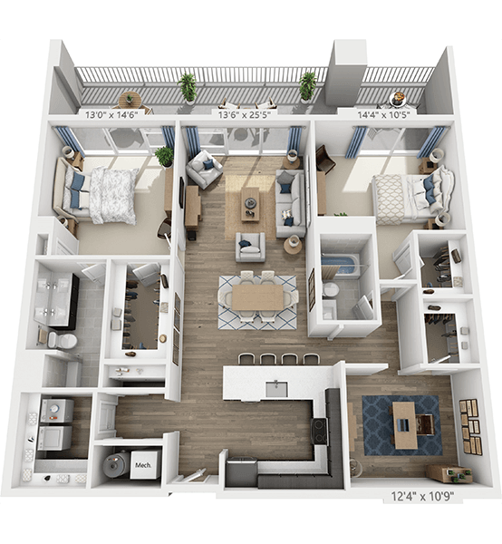 Recital 2 Bedroom Apartment Floor Plan