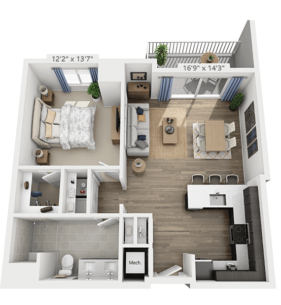 Sonata 1 Bedroom Apartment Floor Plan