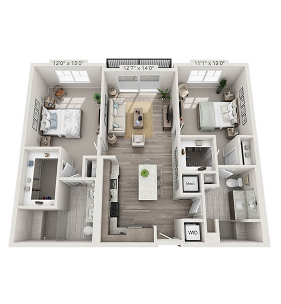 Crescendo 2 Bedroom Apartment Floor Plan