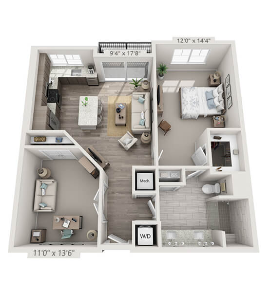 Harmony w/ Den 1 Bedroom Apartment Floor Plan