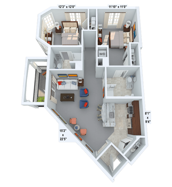 Allegro 2 Bedroom Apartment Floor Plan