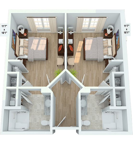 Duet, Companion Suite 2 Bedroom Apartment Floor Plan