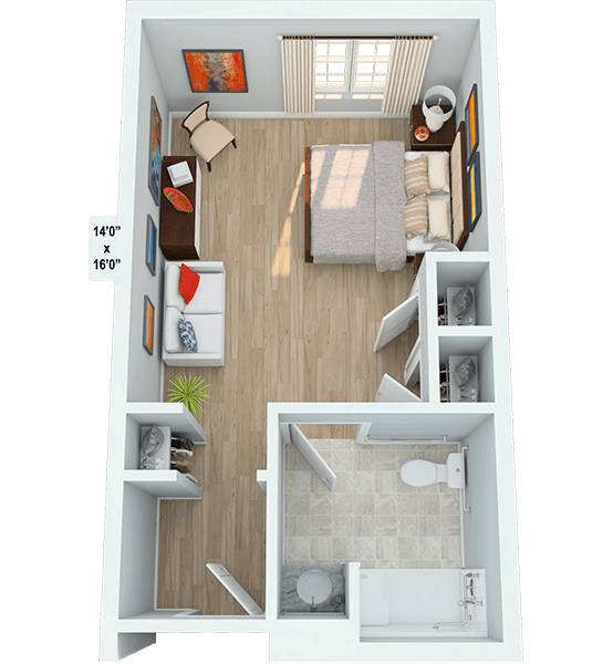 Medley 0 Bedroom Apartment Floor Plan