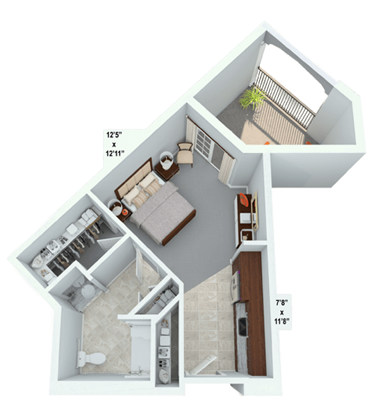Melody 0 Bedroom Apartment Floor Plan