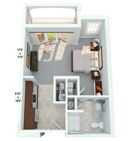 Prelude 0 Bedroom Apartment Floor Plan