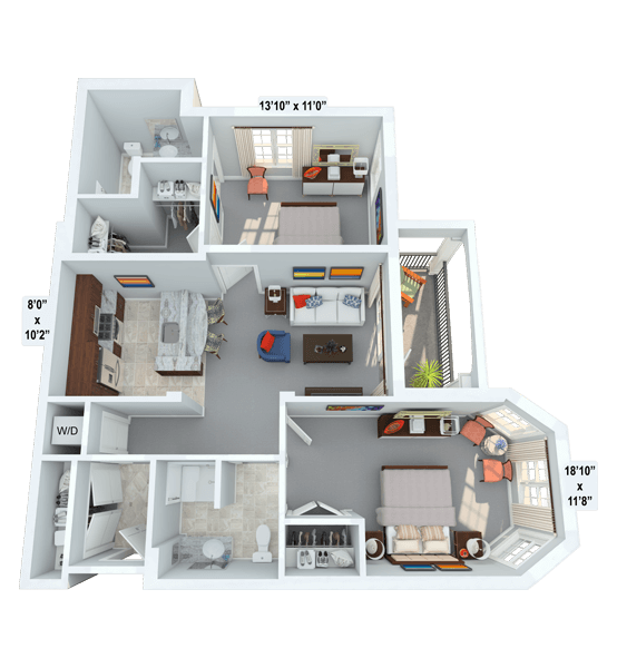 Serenade 2 Bedroom Apartment Floor Plan
