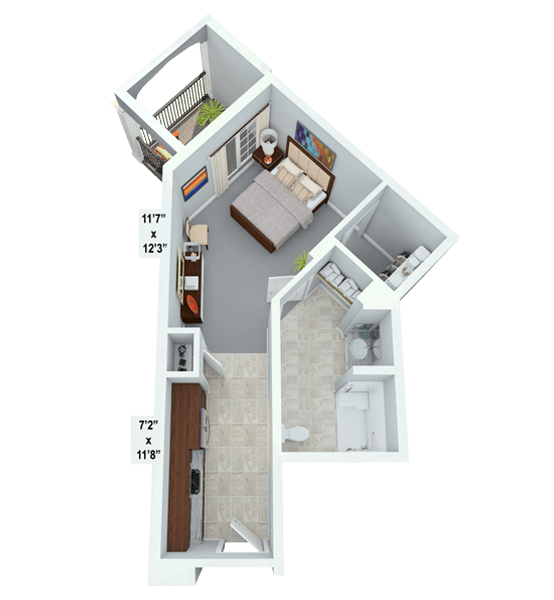 Sonata 0 Bedroom Apartment Floor Plan