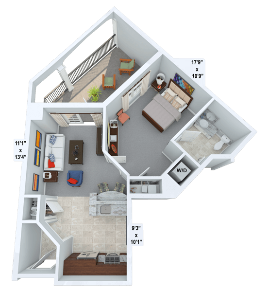 Treble 1 Bedroom Apartment Floor Plan