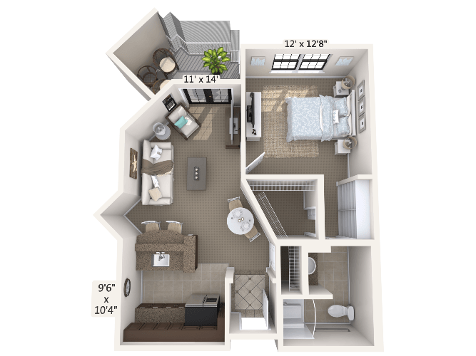 Cantata 1 Bedroom Apartment Floor Plan