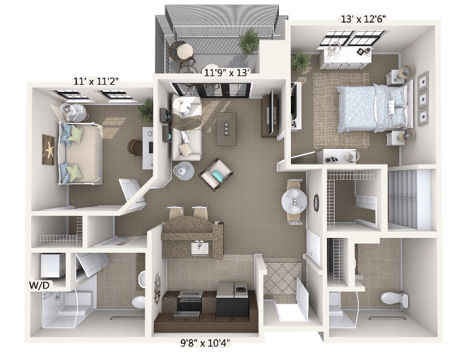 Crescendo w/ Den 1 Bedroom Apartment Floor Plan