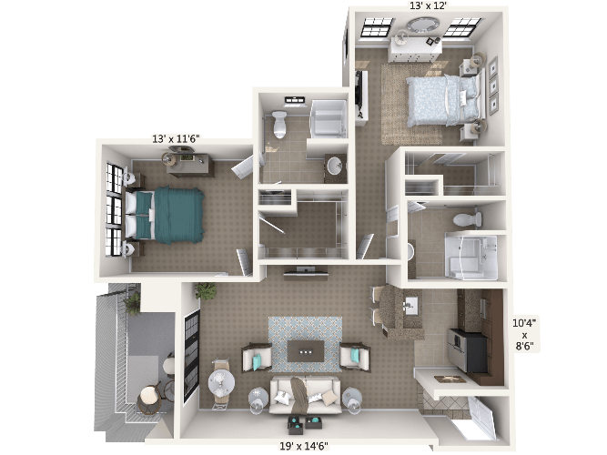 Encore 2 Bedroom Apartment Floor Plan