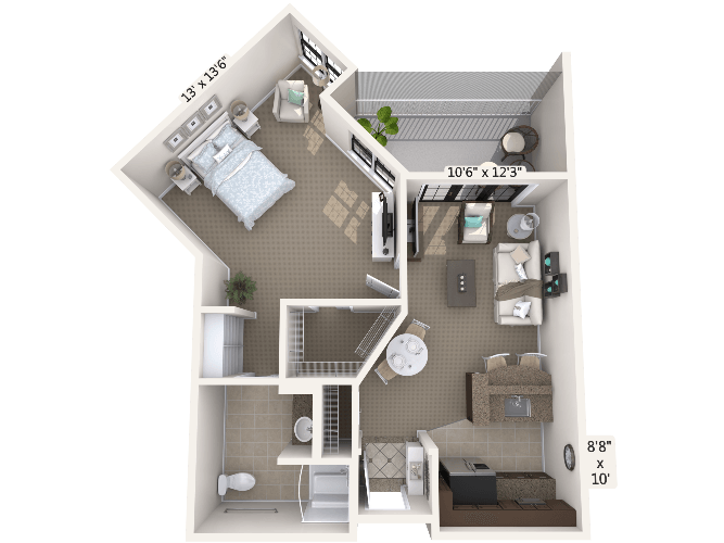 Interlude 1 Bedroom Apartment Floor Plan