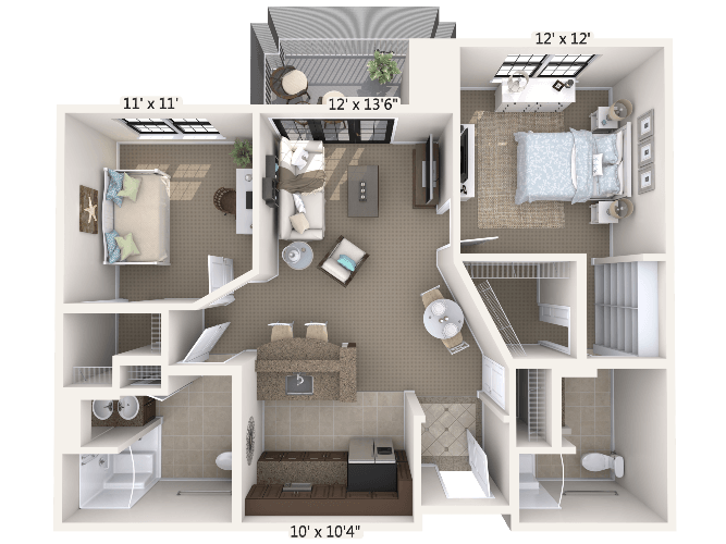 Melody w/ Den 1 Bedroom Apartment Floor Plan