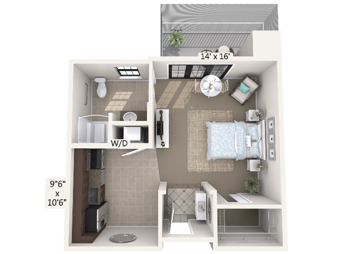 Minuet 0 Bedroom Apartment Floor Plan