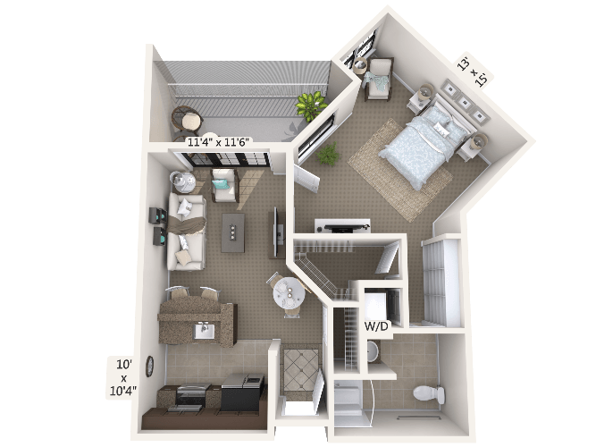 Recital 1 Bedroom Apartment Floor Plan
