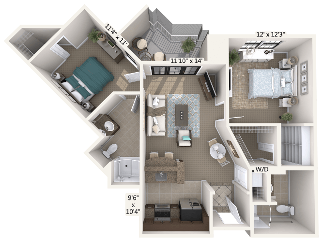 Rhapsody 2 Bedroom Apartment Floor Plan