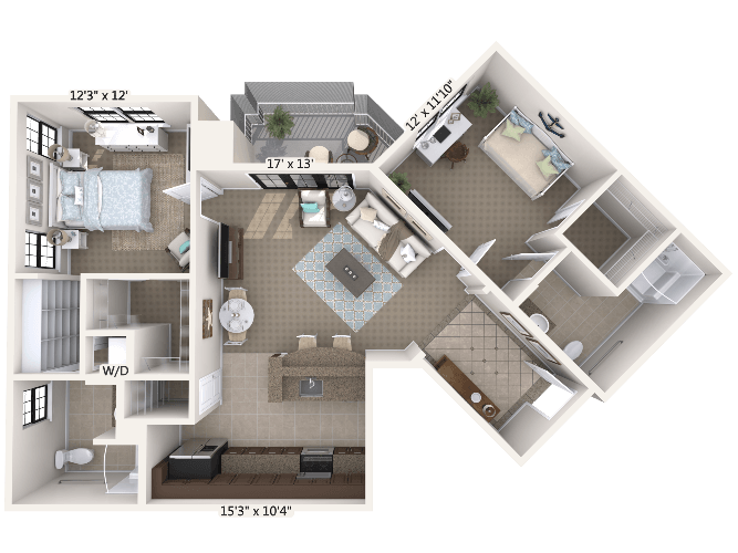 Treble w/ Den 1 Bedroom Apartment Floor Plan